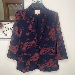 Skies are Blue Navy Floral Print Blazer Jacket